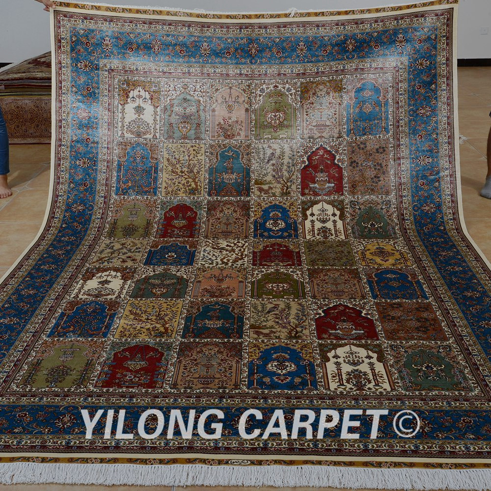 Yilong 7'x10' Handmade Four Season Rug Large Antique Green