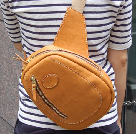 Handmade leather chest bag leather bag pattern drawing DIY version paper BXK-14 pockets ...