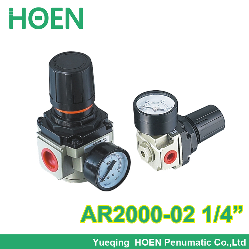 Pneumatic mini air pressure regulator AR2000-02 Port size thread 1/4 inch BSP SMC type air source treatment units AR 2000-02 sns regulator pressure reducer valve pneumatic components ar2000 airtac type