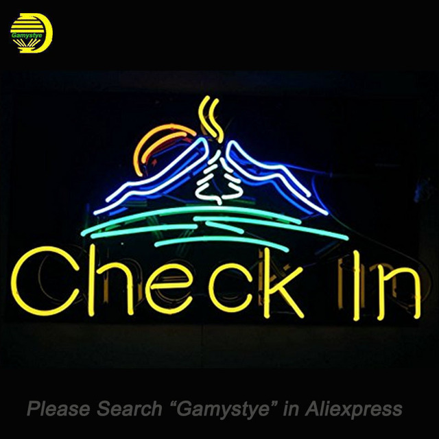 Check In Neon Signs Handcrafted Bulbs Gl Decorate Windows Beer Bar Pub