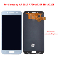 AMOLED LCD For Samsung Galaxy A7 2017 Display Touch Screen Digitizer Assembly Touch Screen Adjustable Brightness