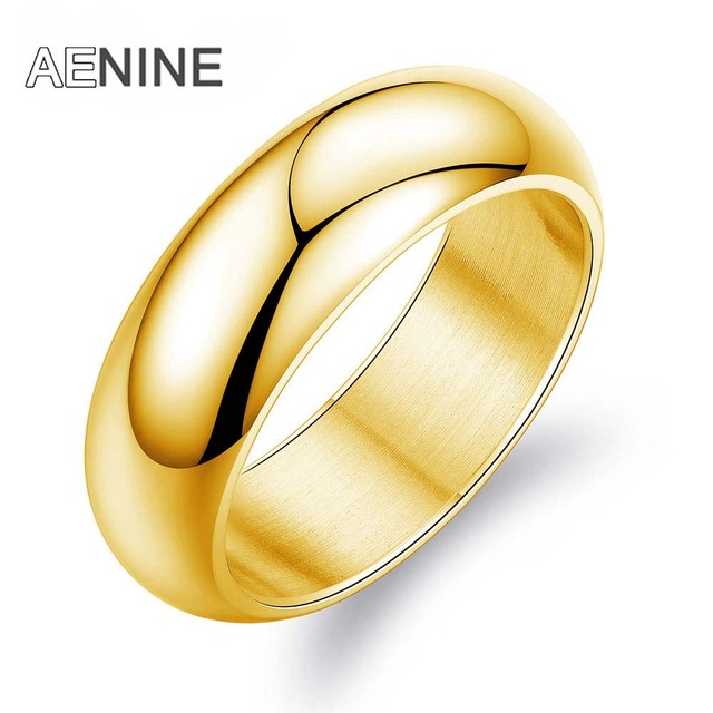 AENINE Minimalist 7mm Wide Smooth Couple Engagement Rings 316L Stainless Steel S