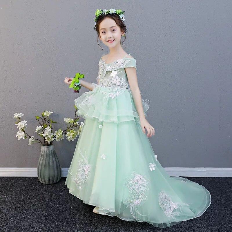 2018 Summer New Children Girls Fashion Luxury Shoulderless Birthday Wedding Party Long Tail Dress Model Show Teens Piano Dress