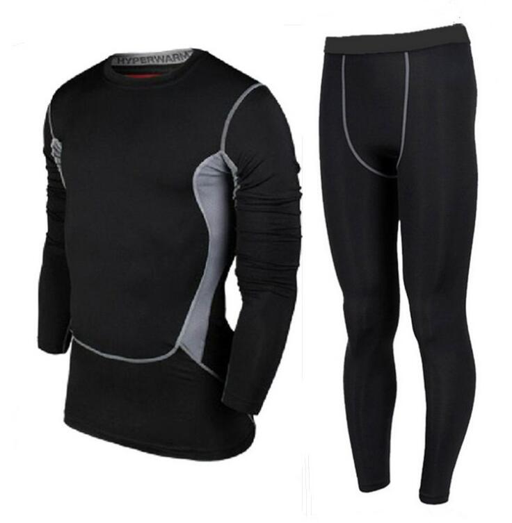 Hommes Sport Pro Collants À Manches Longues Pantalon Costume Formation Fitness Uniformes Athlétisme Basket-Ball de Football Vêtements Stretch Ensembles