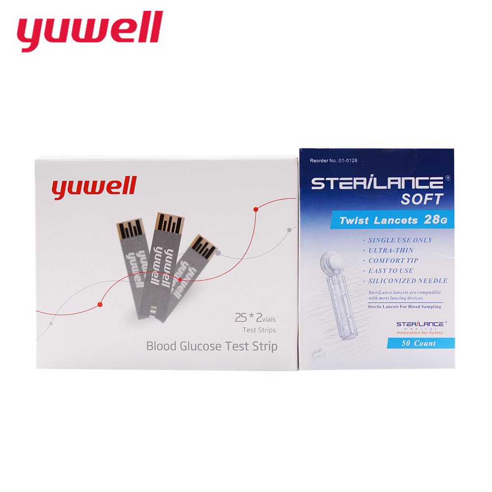 yuwell Blood Glucose Test Strips Unit mg/dl Sterile Lancets Meter Used for Professional Monitors Diabetes Blood Glucose 710 one time collector sterile phlebotomy collection needle 50 28g blood glucose injection security lock cassette