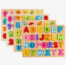 Color cube digital letters building  three-dimensional puzzle wooden toys children early education educational