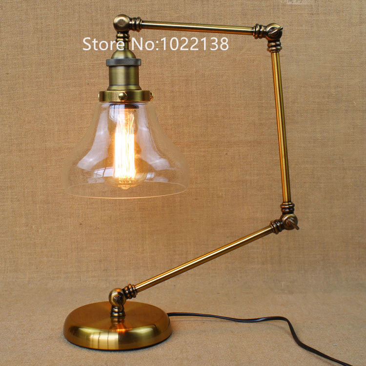 Retro Golden Coffee Shop Table Lamp Glass shade Vintage Desk Lamp Dimmable 40W Edison Bulb Bedroom Bar Table Light Desk Light edison industrial vintage retro simple type flowers crystal glass droplight cafe bar club hall coffee shop bedroom bedside