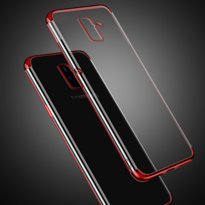 Plated Fundas For Samsung M20 M10 A6 A8 Plus A750 2018 S6 S7 Edge S8 S9 S10 Lite Plus A9S A9 2018 J4 J6 Plus Prime J8 2018 Cover in Fitted Cases from Cellphones Telecommunications
