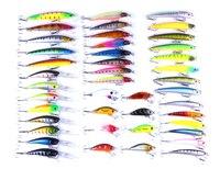 43pcs Lot 3D Hard Fishing Bait Set Kit High Quality Fishing Lure Hook Fishing Tackle Minnow