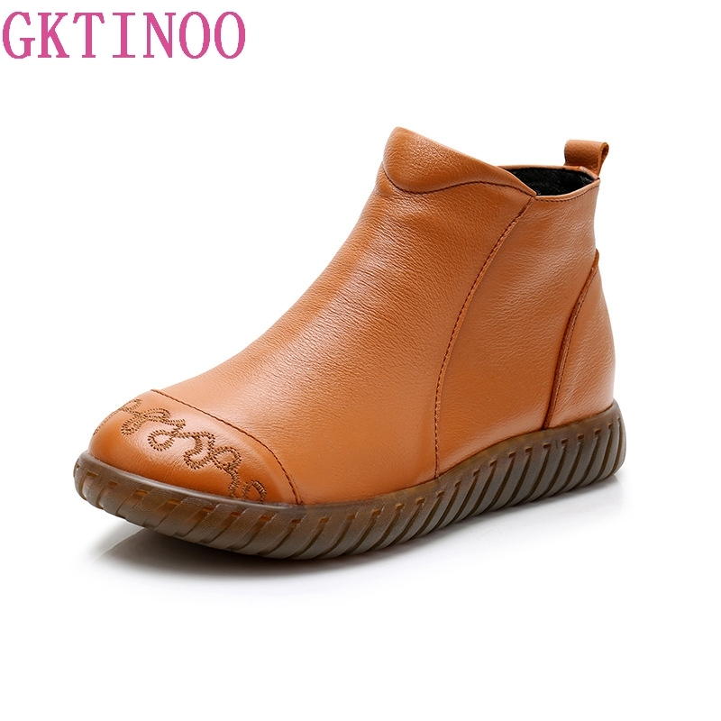 GKTINOO 2018 Women's Ankle Boots With Fur Winter Autumn Handmade Martin Boots Flat Shoes Retro Genuine Leather Boots for Women beyarne 2018 women s ankle boots autumn winter soft handmade retro martin boots flat shoes 100