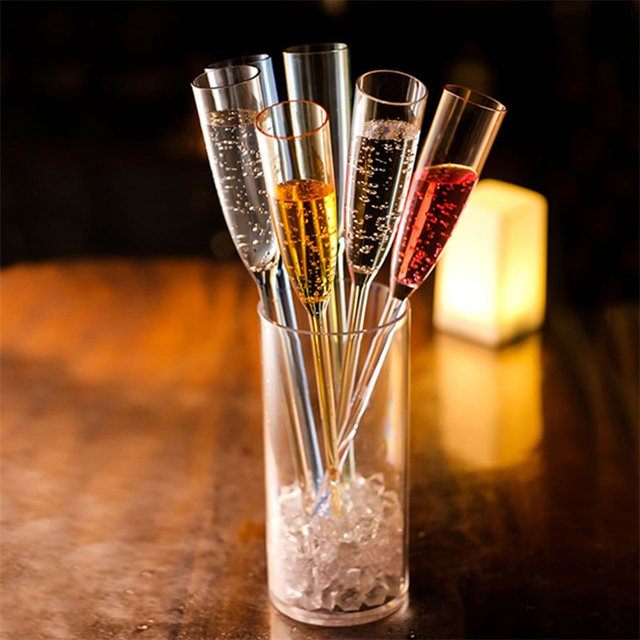 Upspirit 6pcs Plastic Champagne Cocktail Cup Champagne Flutes Wine Glasses Beach/Wedding Party Cocktail Cups Bar KTV Drinkware
