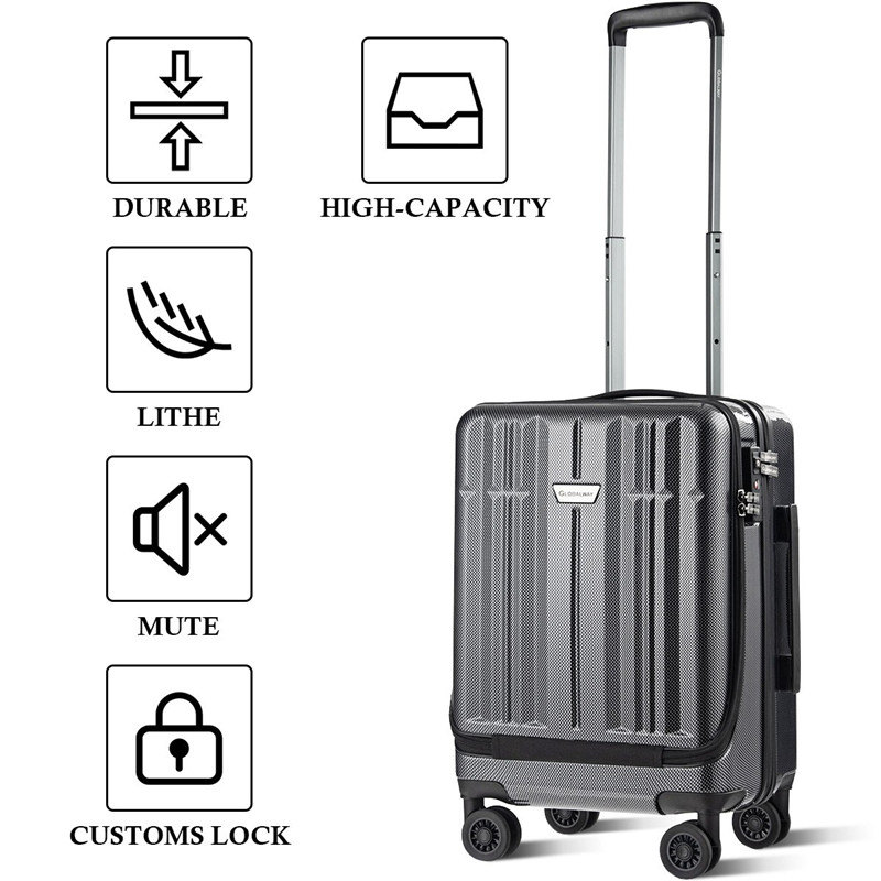 Front-Pocket-Luggage Trolley Suitcase Wheels Woman for with Tsa-Locks Mala-De-Viagem