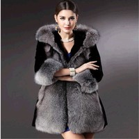 Women long coat 2018 New Winter Coat Fur Fashion Imitation Fox Fur Coat With Cap Plush Large Fur Collar Jacket