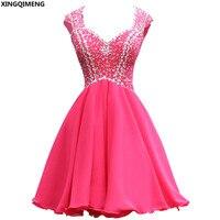 Сексуальная спинки Коктейльные платья розового и красного цвета Элегантные Короткие коктейльные платья Кристаллы бисером Кепки рукавом т