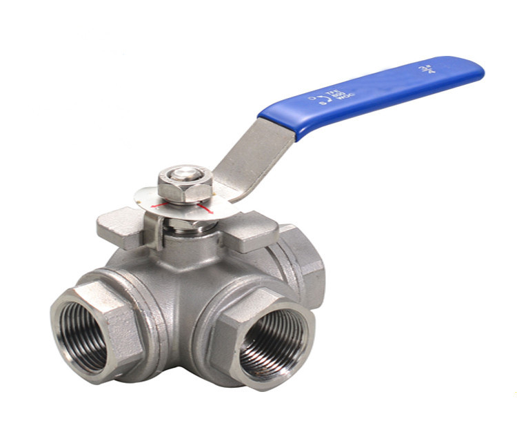 Freeshipping 1pcs Female 3 Way T-type L-type 304 Stainless Steel Ball Valve free shipping 3 4 dn20 female brass ball valve t type three way connection stainless steel 304