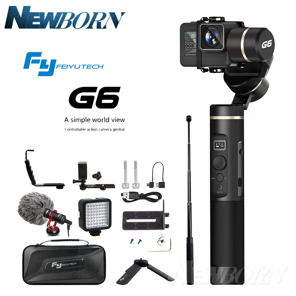 Hot Feiyutech Feiyu G6 Splash Proof 3-axis Handheld Gimbal for Gopro HERO5 6 Action Camera Stabilizer Xiaoyi RX0 +Gift feiyutech feiyu spg gimbal 3 axis splash proof handheld gimbal stabilizer for iphone x 8 7 6 plus smartphone gopro action camera