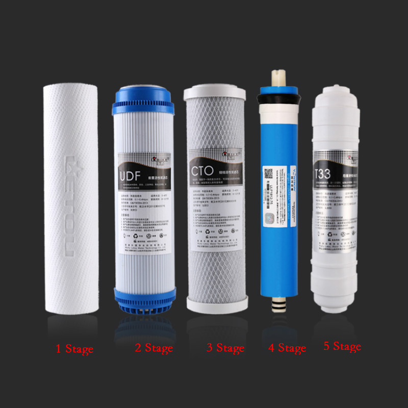 5 Stage Reverse Osmosis RO Water Filters Replacement Set with Water Filter Cartridge 75 GPD Membrane / 50 GPD Membrane 5 stage reverse osmosis ro water filters replacement set with water filter cartridge 75 gpd membrane 50 gpd membrane
