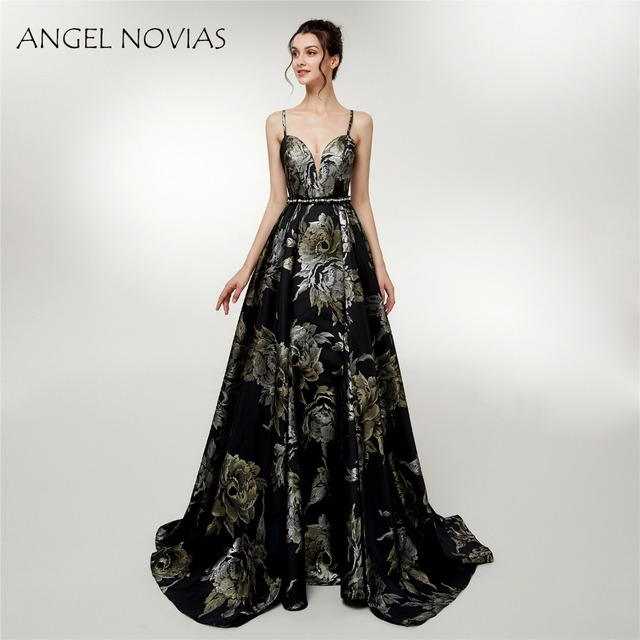 813467316c47 ANGEL NOVIAS Abendkleider Long Formal Black Jacquard Mermaid Evening Dress  2018 with Straps Party Dress Robe De Soiree Longue