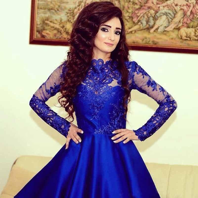 Vestido De Festa 2015 Long Sleeve Royal Blue Short Prom Dresses High