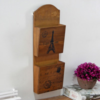 Wooden Wall Storage Shelf Decorations Eiffel Tower Wooden Decorative Wood Cabinets Double Layers Hanging Wall Cabinet Shelves