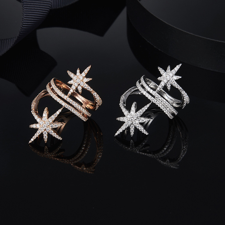 Double Starfish Meteor Star Multilayer Ring For Women Famous Full Zirconia S925 Sterling Silver Monaco Fashion Rings Jewelry