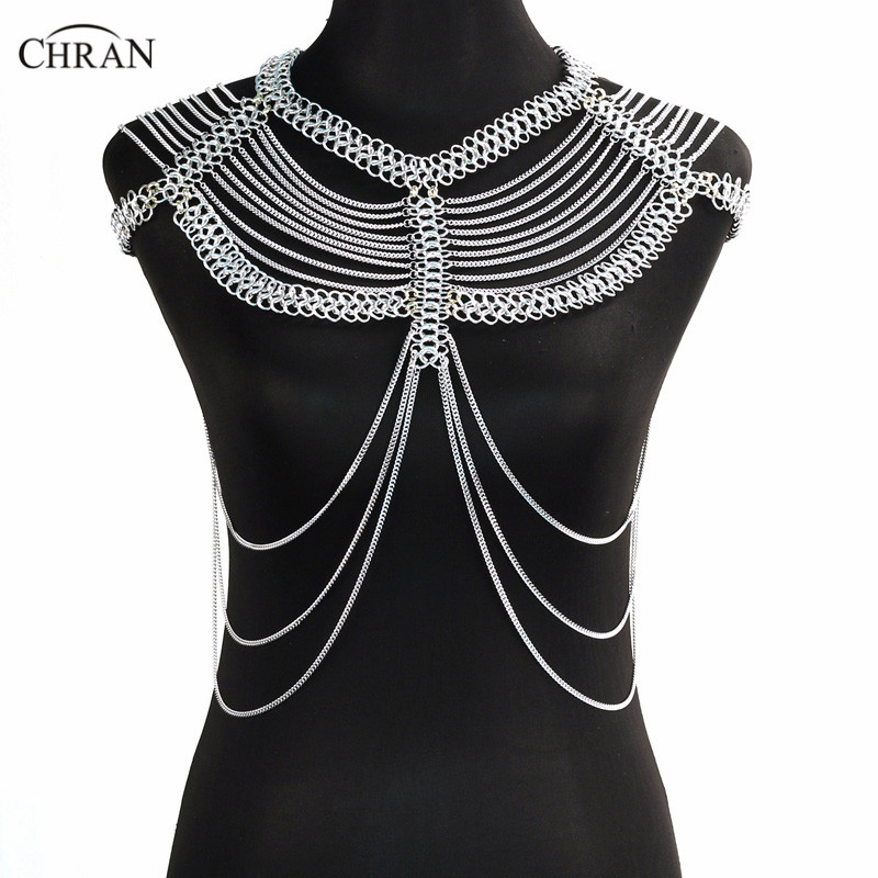 Chran Women Chain Bra Bralette Body Jewelry Crop Top Bikini Wear Waist Gold Sexy Belly Beach Harness Shoulder Necklace CRB4128