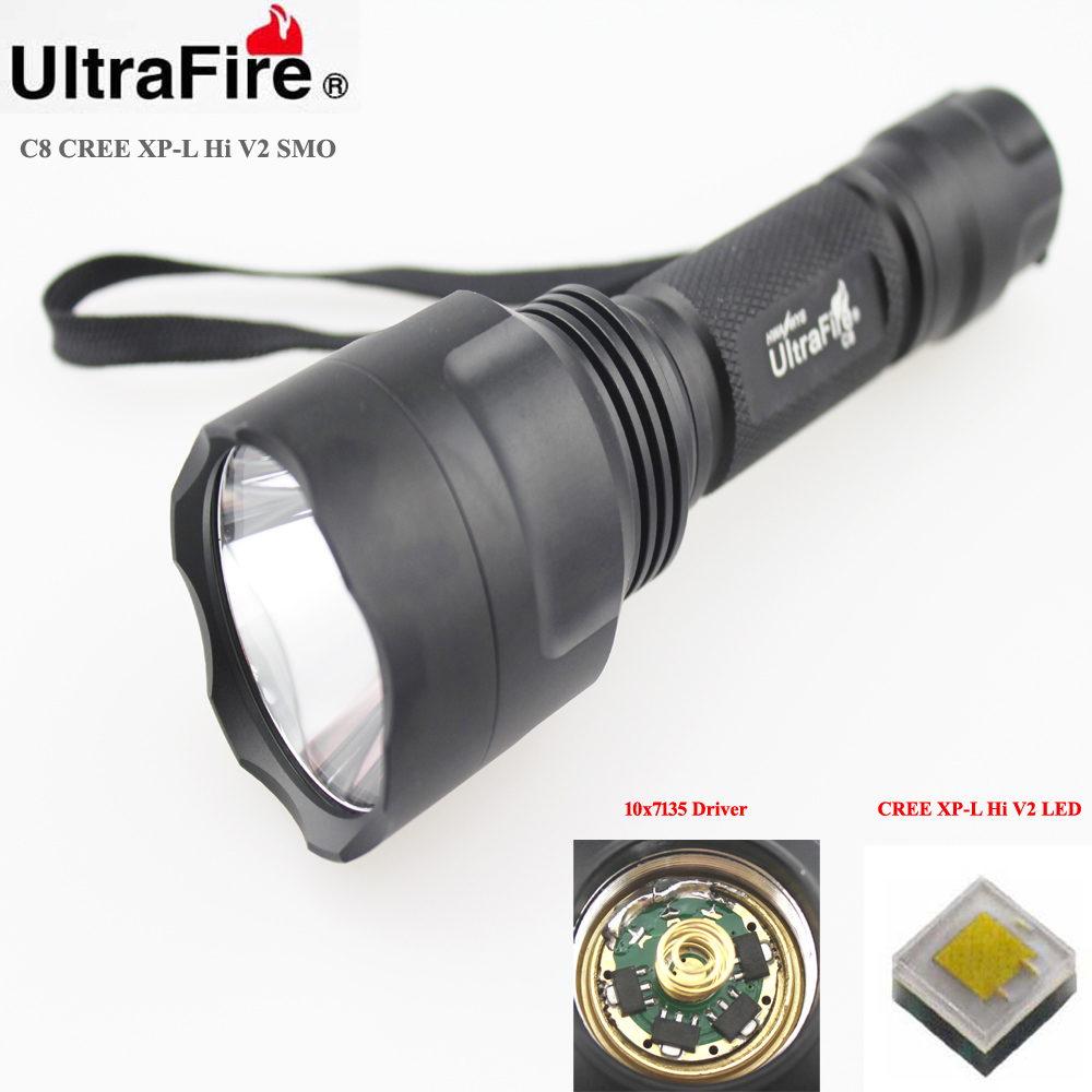 U-F C8 CREE XP-L HI V2 1600lm Cool White Light 10x7135 Driver 5-Mode SMO LED Flashlight (1 x 18650)