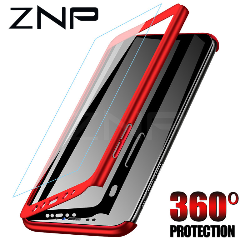 ZNP 360 Full Protective Phone Case For Samsung Galaxy J4 J6 Plus J8 2018 Full Cover For Galaxy A7 A8 Plus 2018 Cases With Glass