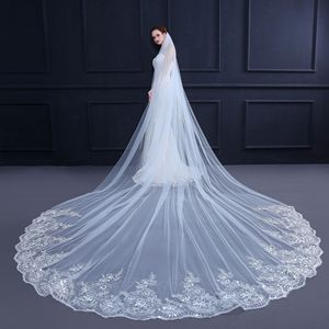 Image 4 - 4 Meter *3m Ivory/White Bridal Veils Lace one layer applique Edge Tulle  Cathedral Wedding Veil Long Wedding Accessorie