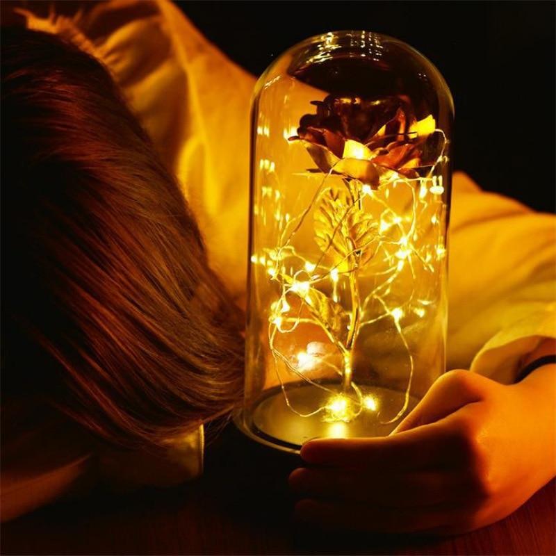Schönheit Und Das Biest Rose In Glas Für valentinstag Geschenke Gold-überzogene Rote Rose Mit LED Licht In glas Dome Für Hochzeit Party