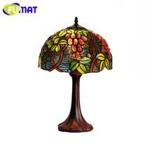 FUMAT Tiffany LED Table Lamps Retro Stained Glass Art Table Light Grape Color Glass Shade Desk Light American Bedside Table Lamp(China)