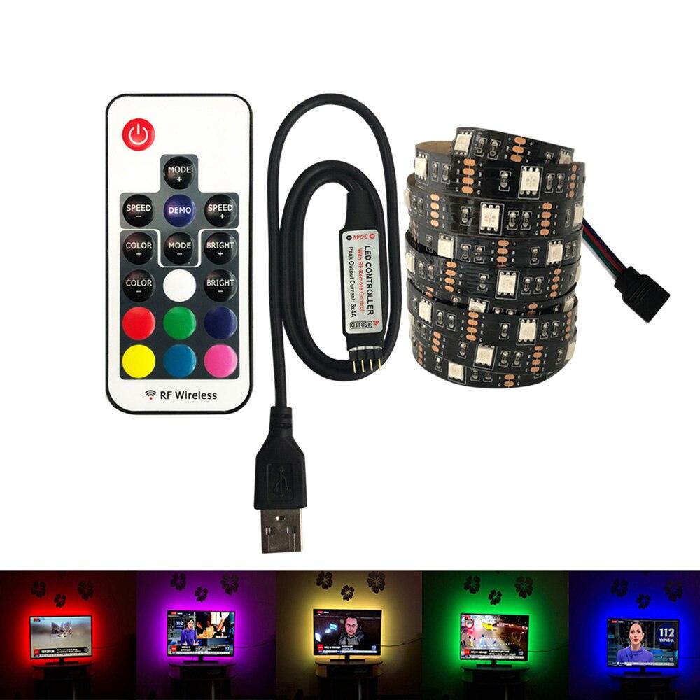 USB LED Strip 5050 DC 5V No Waterproof RGB LED 30leds Light Flexible 50CM 1M 2M  For TV Background Lighting