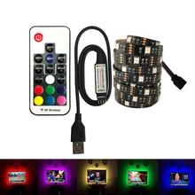 USB LED Strip 5050 DC 5V No Waterproof RGB 30leds Light Flexible 50CM 1M 2M  For TV Background Lighting
