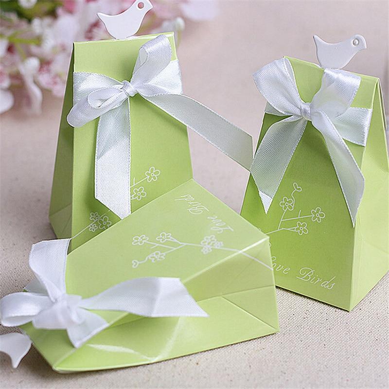 Free Shipping 50pcslot Green Bird Wedding Favor Boxes Wedding Candy