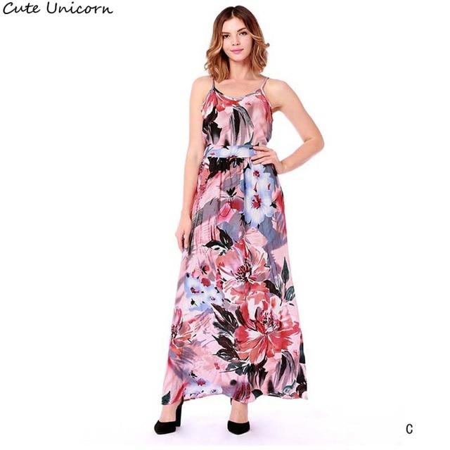 f8584577fe2 2018 Summer Long Dress strapless Floral Print Boho Beach Dress Tunic Maxi  Dress Women Evening Party Dress Sundress Vestidos