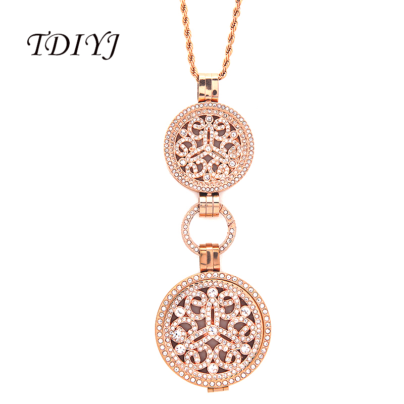 Interchangeable Disc Necklace: TDIYJ New Women Jewelry Rose Gold Full Crystal Coin
