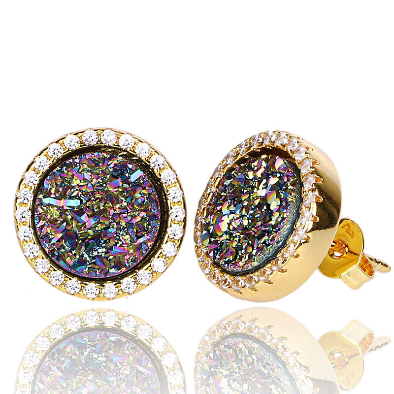 4021812b7 Qualities Blue Natural Stone Earrings with Rhinestone Mixed Color Nature Druzy  Stud Earrings Fashion Jewelry Crystal Earings -in Stud Earrings from Jewelry  ...