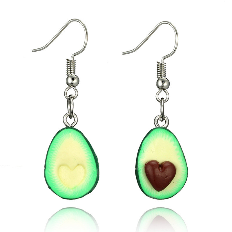 LASPERAL Women Girl Personality Cartoon Fruit Piercing Pendant Earring Statement Jewelry Green Cute Avocado Drop Earring