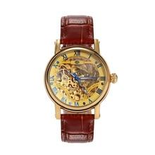 2016 de La Vendimia de la Correa Blacksteel Hombres Antique Steampunk Esqueleto Reloj de pulsera Reloj Masculino Ocasional Relojes Mecánicos Automáticos
