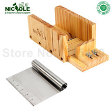 Nicole Einstellbare Holz Loaf Soap Cutter DIY Handarbeit mit Rollgriff Soap Cutter 6 Zoll Tick Mark Loap Soap Cutter