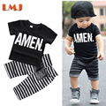 New 2016 Summer Kids Suits 1-5Yrs Baby Boys Clothing Sets Black T Shirts + Striped Pants 2pcs/lot Fashion Clothing Sets