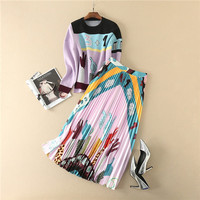 fashion new trend women high quality clothing sets knitwear top pleated long skirts sets purple cartoon sweater and skirt suits