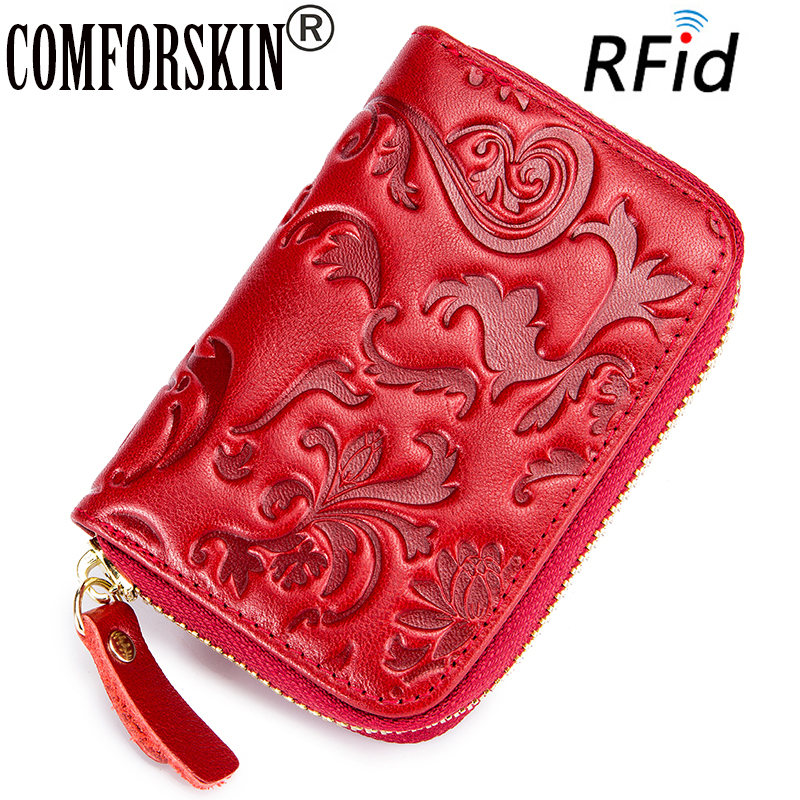COMFORSKIN Premium 100% Cowhide Leather RFID Protection Card Wallet 2018 New Arrivals Stylish  Embossing ID Credit Holders