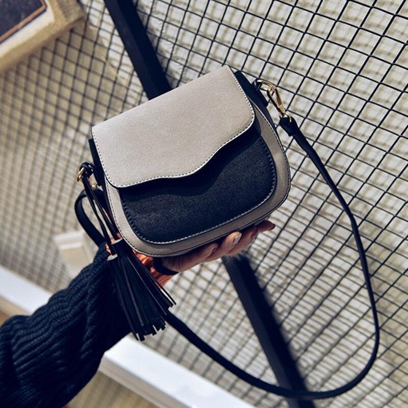 New Trend Women Handbags, Retro Simple Flap, Fashion Shoulder Bag, Tassel Ornaments Woman Messenger Bag(light Grey)
