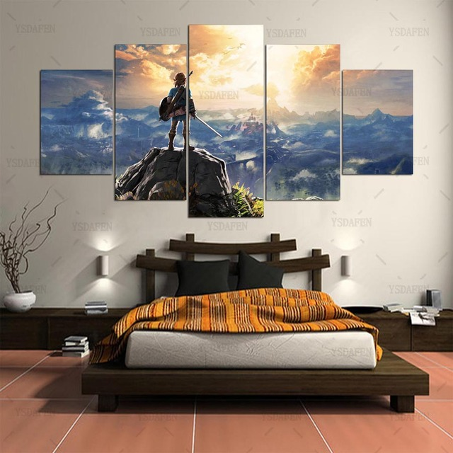 Canvas Painting Wall Pictures 5 Panel Game Wall Art Legend Of Zelda Poster For Living Room Home Decor Modular Pictures Frames 3