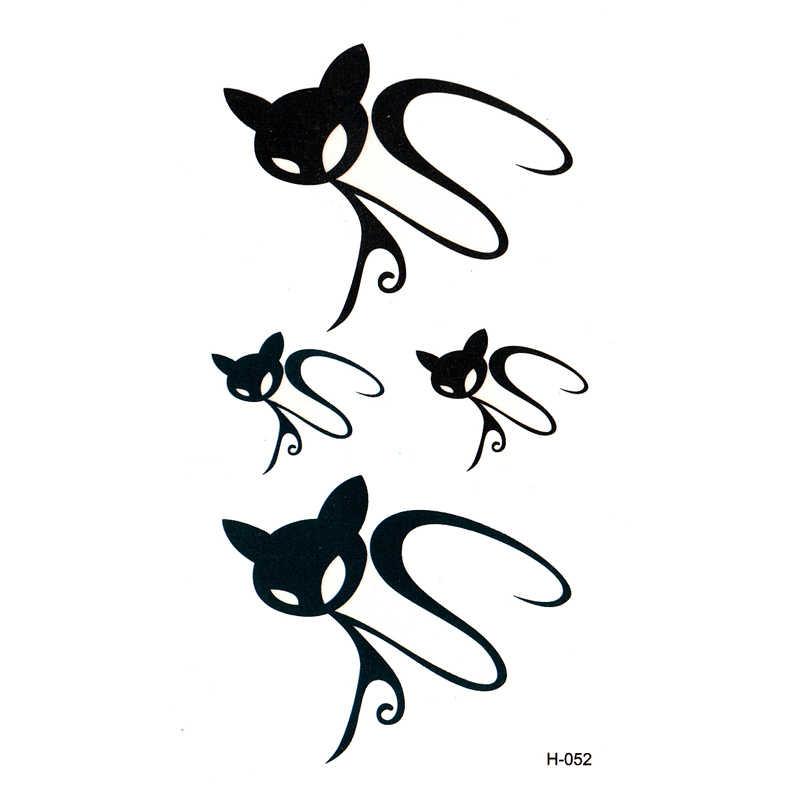 Unsichtbare Schwarze Katze tätowierung wasserdicht temporäre körper kunst flash tattoo farbe 3D simulation tattoo ärmel xha hallo kitty tattoos
