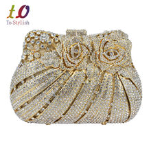 Golden Flower Luxury Crystal Evening Bag Rose Diamond Banquet Bag Sparkly Diamante Wedding Party Purse Pochette Clutch Bag 88176