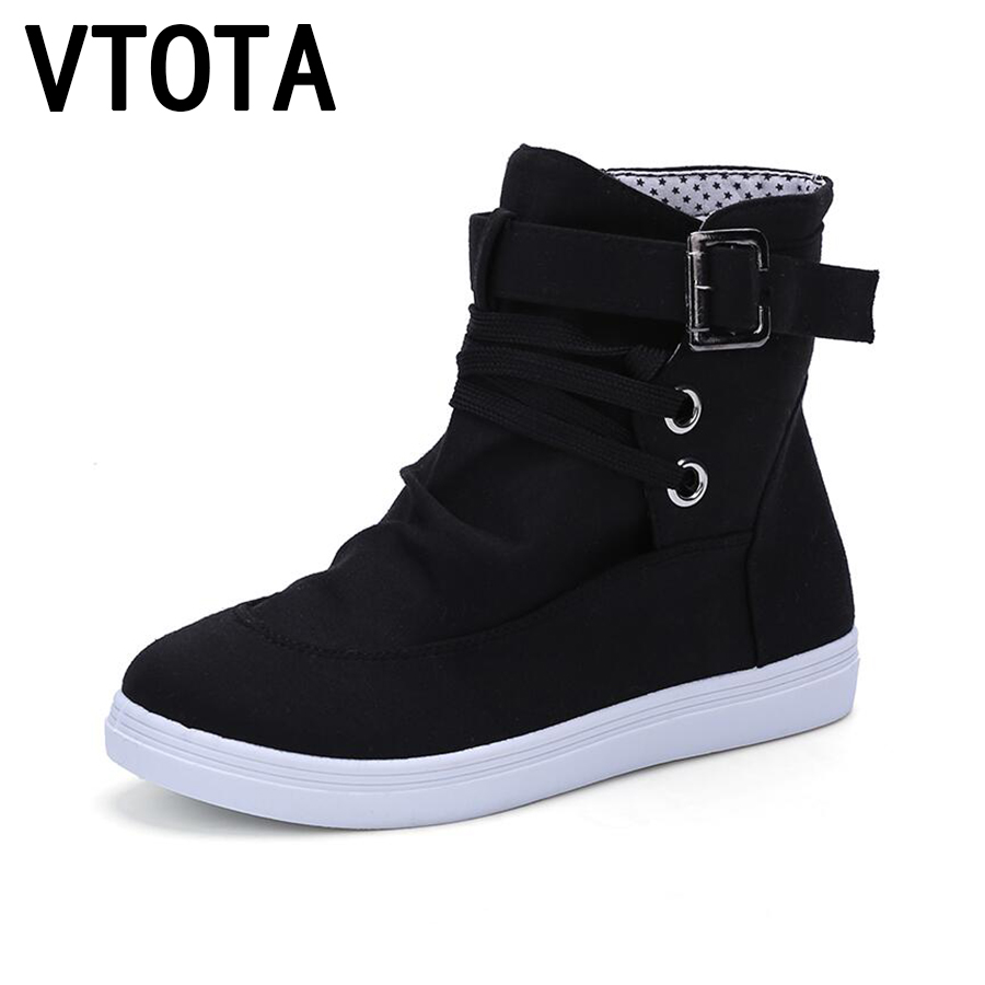 VTOTA Autumn Ankle Boots For Women Lace Up Casual Flat Women Boots 2018 Botas Mujer Platform Buckle Canvas Shoes Women H143 vtota martin boots women fashion women boots thick with ankle boots shoes woman botas mujer platform ankle boots for women d2