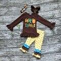 Meninas do bebê Outono/Inverno roupas ação de graças dar graças abóbora crianças outfits brown top com calça de bolinhas com acessórios