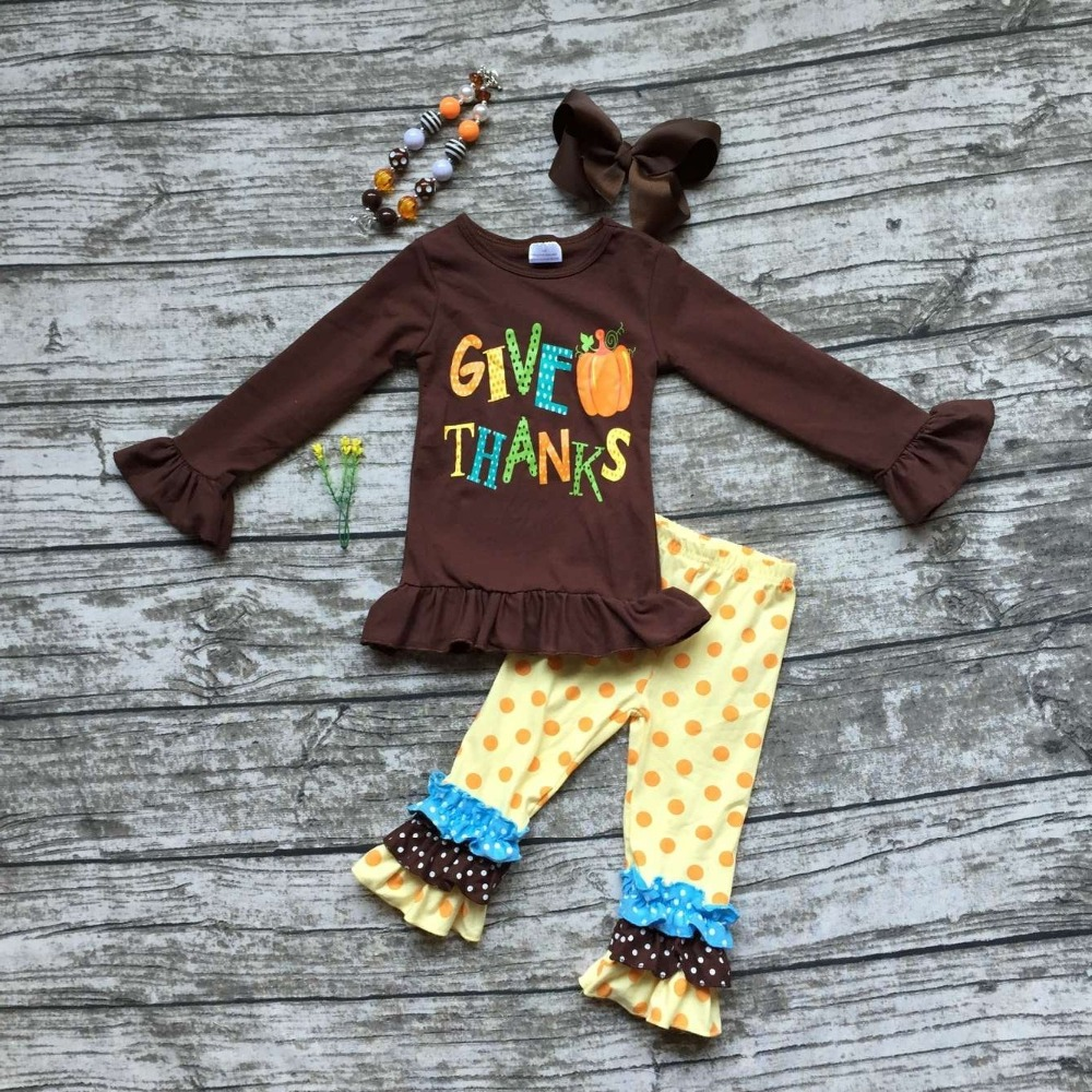 baby girls Fall Winter thanksgiving clothing give pumpkin thanks outfits children brown top with polka dot